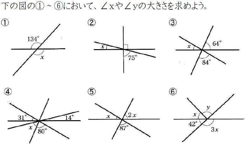 対頂角と角度の問題【中学2年数学】