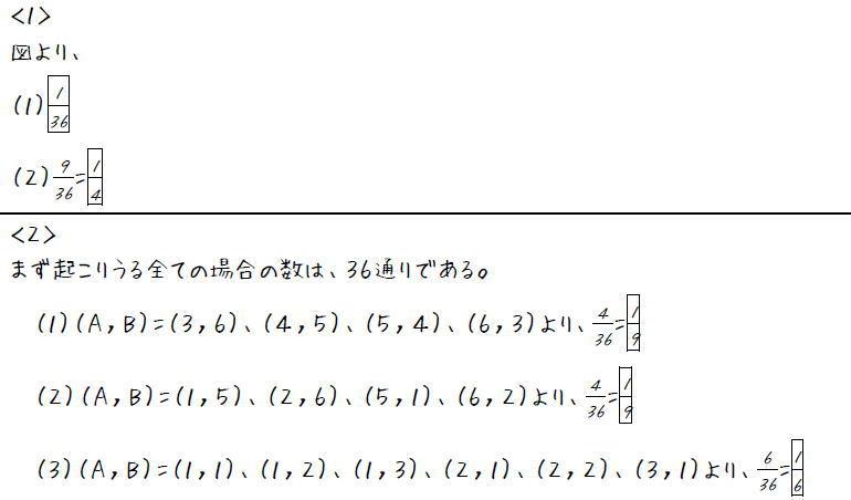 サイコロと確率【中2数学】 (答え)