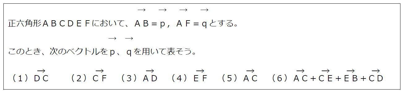 正六角形とベクトルの分解【数B】(問題)