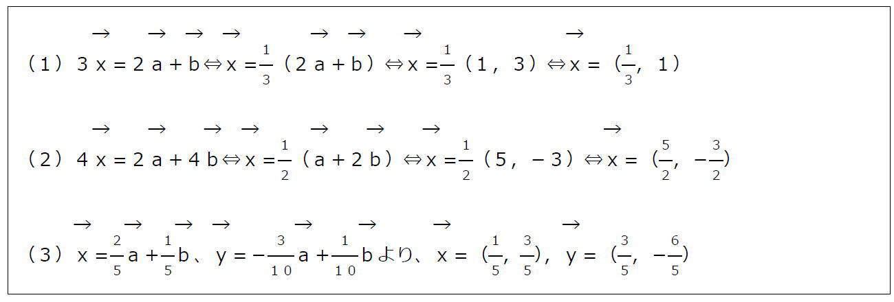 ベクトルの成分と計算その2【数B】(答え)