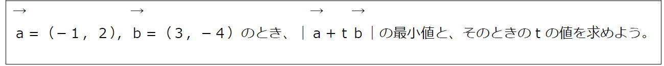 ベクトルの大きさと最小値【数B】(問題)