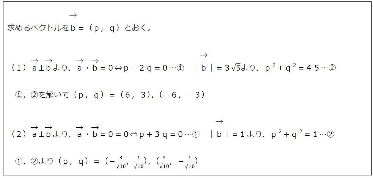 垂直なベクトルの成分【数B】(答え)