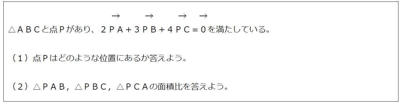 ベクトルの等式と三角形の面積比【数B】 (問題)