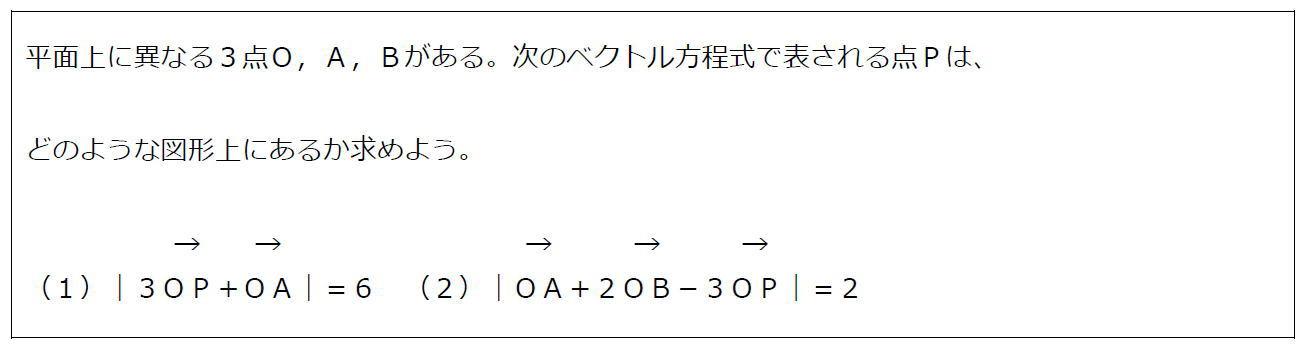 ベクトル方程式が表す円その1【数B】(問題)