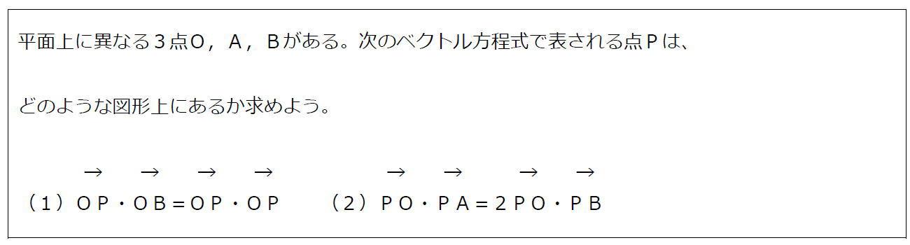 ベクトル方程式が表す円その2(問題)