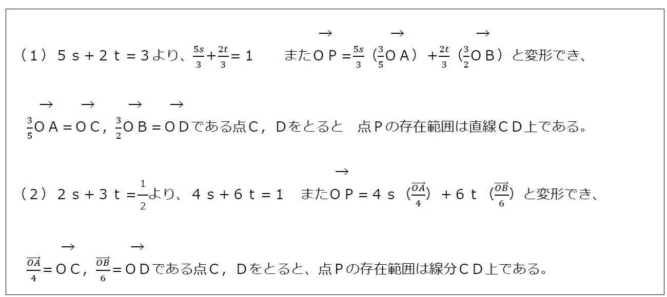 ベクトルの終点の存在範囲その2【数B】(答え)