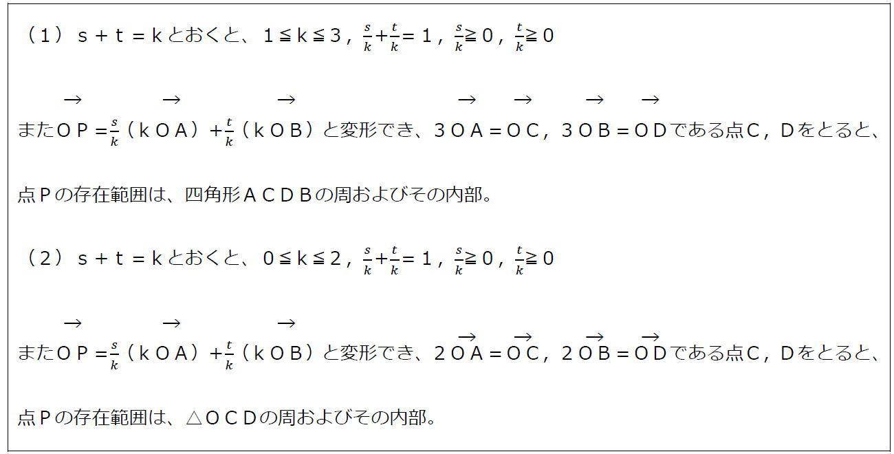 ベクトルの終点の存在範囲その3【数B】(答え)