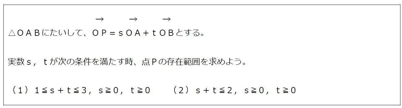 ベクトルの終点の存在範囲その3【数B】(問題)